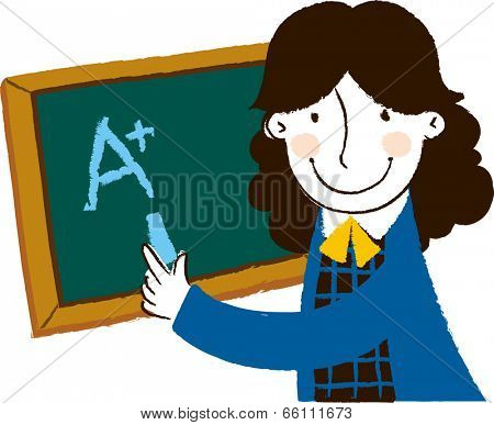 The view of woman with blackboard