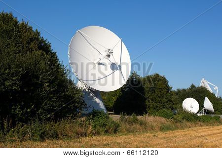 Radio Telescope Against Blue Sky And Trees