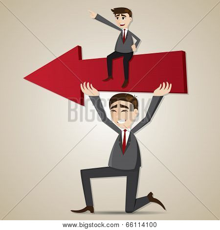 Cartoon Businessman Carry Red Arrow With Exploited Teammate