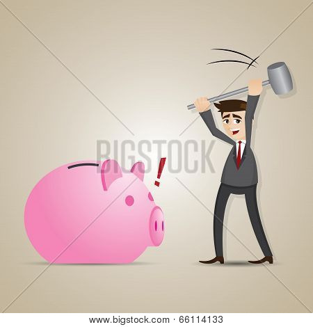 Cartoon Businessman Smashed Piggy Bank