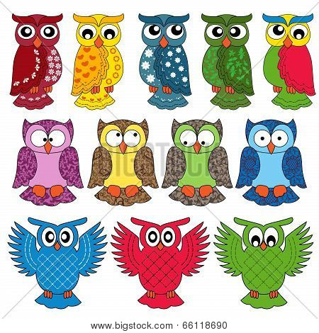 Set Of Eleven Owls
