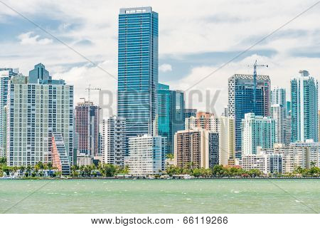 The skyline of Miami photographed from the bridge to Key Biscayne