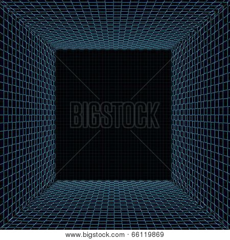 Tunnel With Turquoise Grid