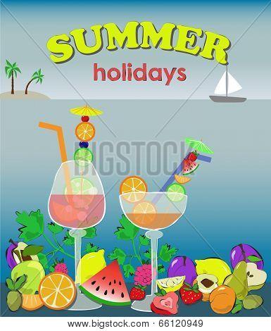 cocktails wtih fruit, summer background