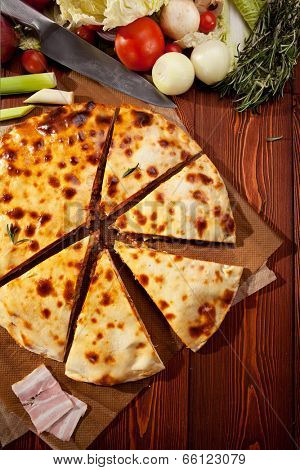 Pizza Calzone with Minced Meat and Onions