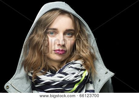 Beautiful Trendy Woman In A Hooded Jacket