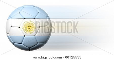 Soccer ball with Argentinian flag in motion isolated