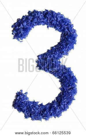 Number 3 Made Of Flowers (cornflowers) Isolated On White Background