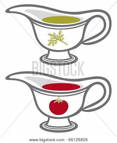 sauce gravy or sauce boat with cream