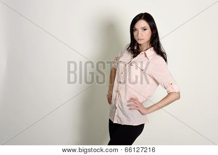 Portrait Of Young Beautiful Caucasian Brunette