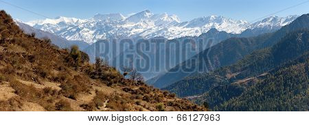Lower Dolpo - Landscape Scenery Around Dunai, Juphal Villages And Dhaulagiri Himal From Balangra Lag