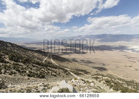 Sweeping vista towards Lone Pine and the Alabama Hills in California's Owens Valley.