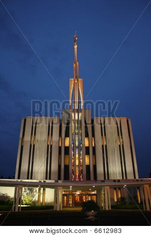 Seattle Temple By Night