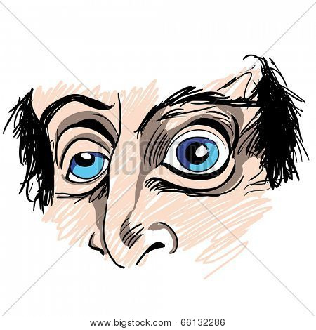 An image of a man with strange eyes.