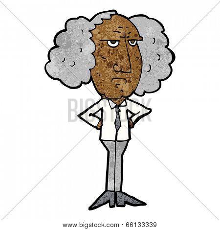 cartoon big hair lecturer man