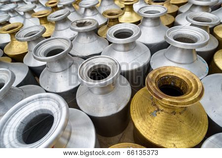Metal containers to carry water in Kathmandu, Nepal