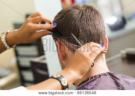 Hairdresser salon. Man during haircut