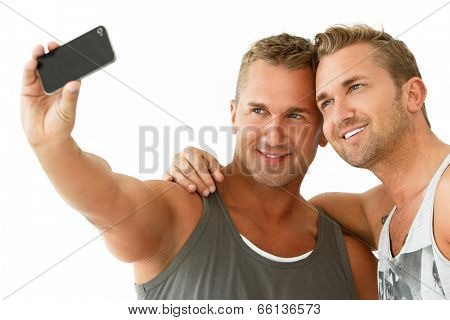 Happy, best friends make a selfie
