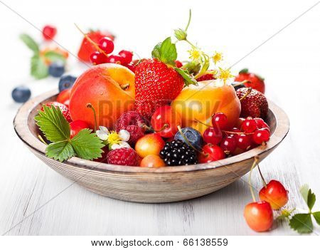 Bowl of mixed berries on the table