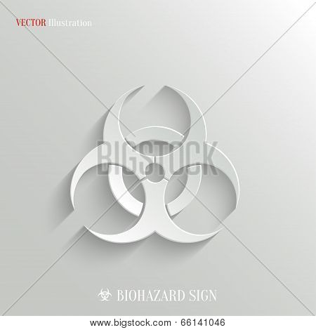 Biohazard Icon - Vector White App Button