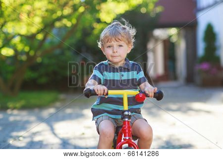 Little Toddler Boy Of 3 Years Having Fun On His  Bicycle