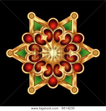 Christmas  Red Gold Snowflake Jewelry. Vector Illustration.
