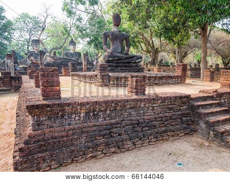 Ancient Buddha At Kamphaengphet Historical Park, Thailand