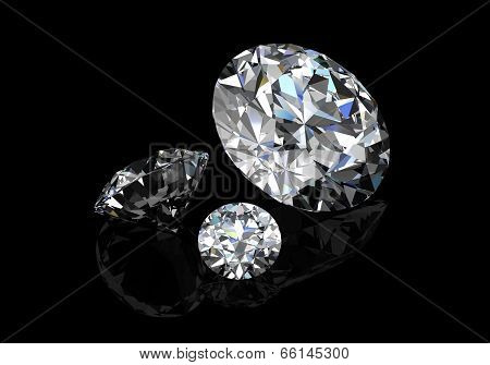 Diamond On  Black Background (high Resolution 3D Image)