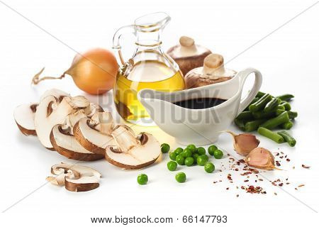 Fresh Mushrooms And Vegetables Ingredients