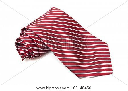 burgundy tie on a white background