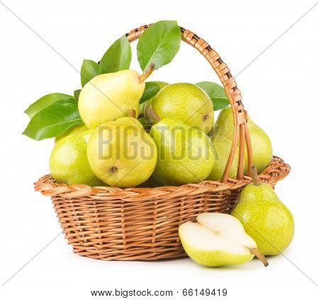 green pears in a basket isolated on white background