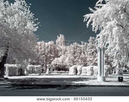 Vdnkh. Territory. Infra-red Photo