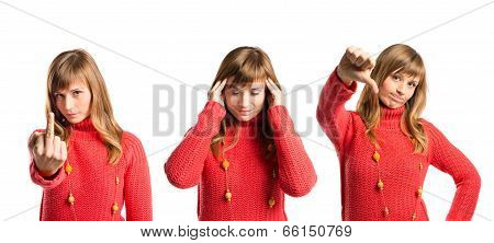 Cute Girl With Headache, Doing Horn Gesture And Bad Sign