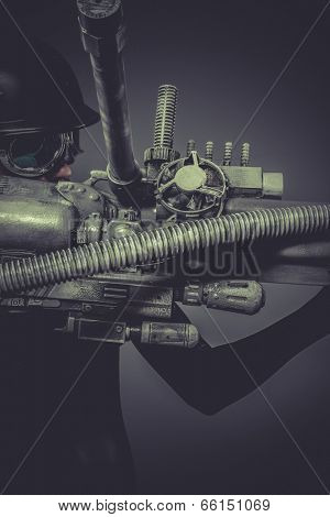 Science, Future soldier with huge weapon, sci-fi scene