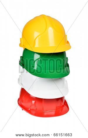 Set of protection helmets isolated over white with clipping path.