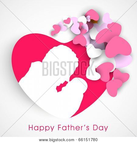 Beautiful sticky in heart shape with white silhouette of a young father and little baby on grey background.