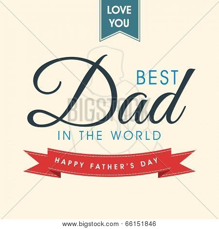 Beautiful greeting card for Happy Father's Day occasion with stylish text and line art illustration of a father and son on brown background.
