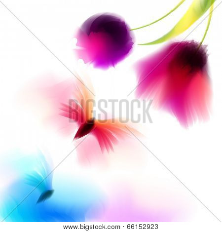 Spring and summer watercolor background vector