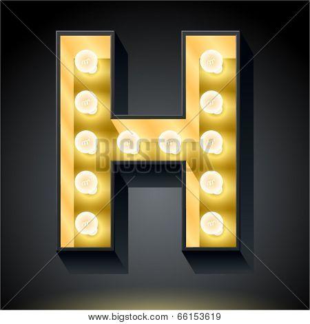 Realistic dark lamp alphabet for light board. Vector illustration of bulb lamp letter h