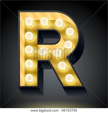 Realistic dark lamp alphabet for light board. Vector illustration of bulb lamp letter r