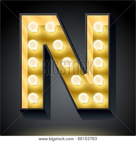 Realistic dark lamp alphabet for light board. Vector illustration of bulb lamp letter n
