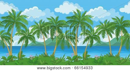 Exotic seamless tropical sea landscape