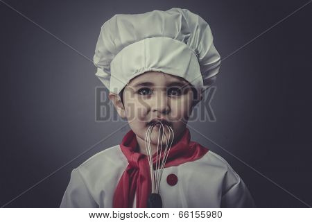 learning child dress funny chef, cooking utensils