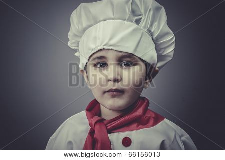 child dress funny chef, cooking utensils