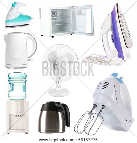 Set of household appliances isolated on white