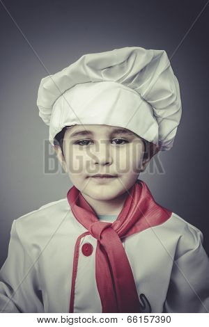 boy child dress funny chef, cooking utensils
