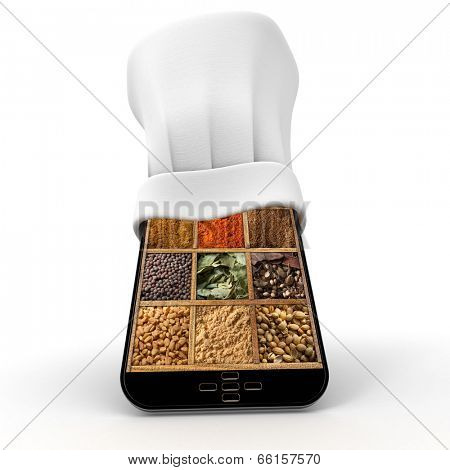 Tablet wearing a chefs toque with a spice collage in the screen