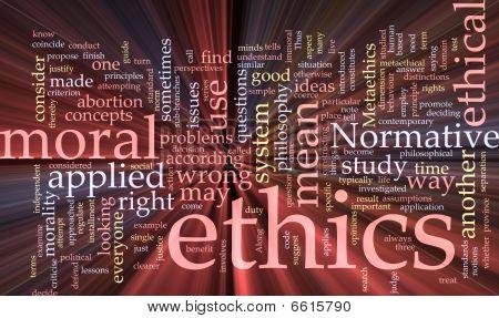 Ethik-Wort-Wolke glühenden