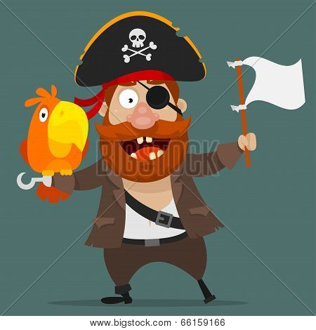Character pirate with parrot holds white flag