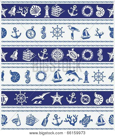 Borders with Nautical and sea symbols